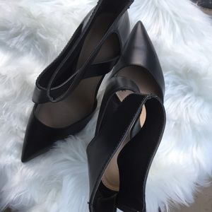 Zara Cut Out Ankle Heel Booties Black Leather